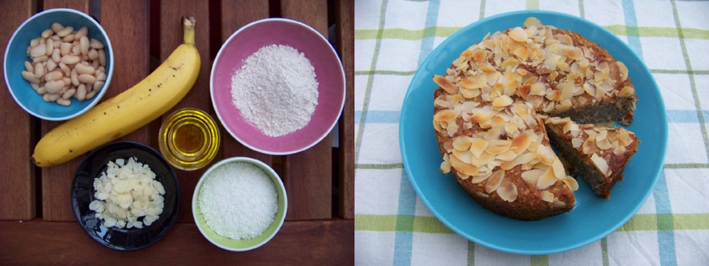 A photograph showing the ingredients and the result of the coconut banana cake