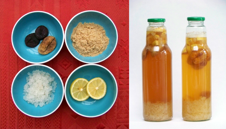 A picture with the ingredients of waterkefir and two bottles fermenting