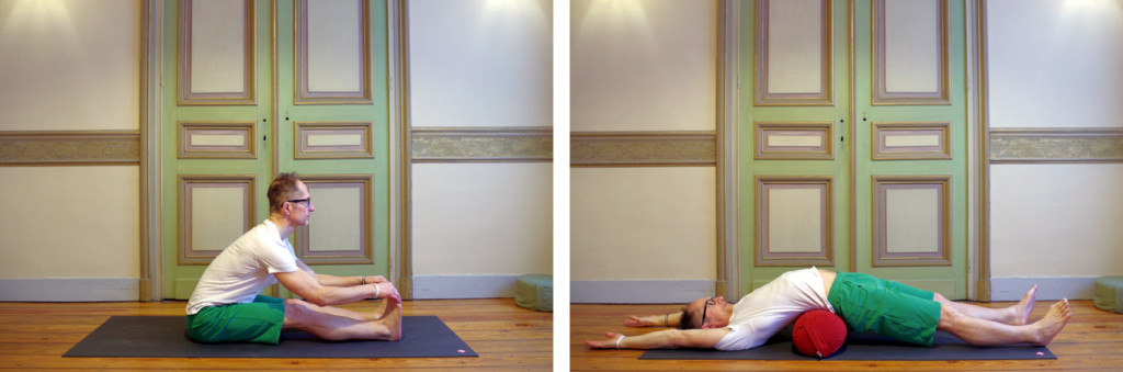 Two pictures of Hatha Yoga postures