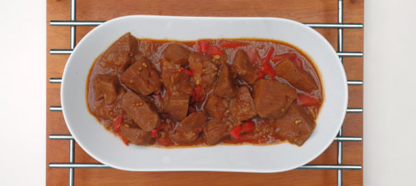 A sweet spicy dish with seitan