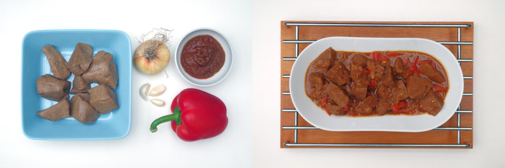 Picture featuring a seitan dish and its ingredients