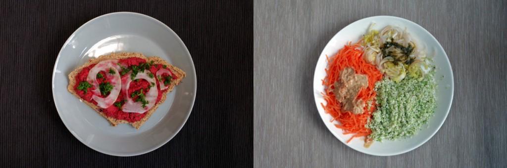 Photomontage avec deux plats crus et végétaux