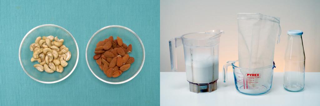 Photo de noix et d'ustensils pour le lait végétal