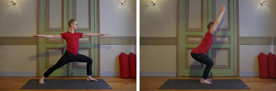 Photo de deux postures de yoga