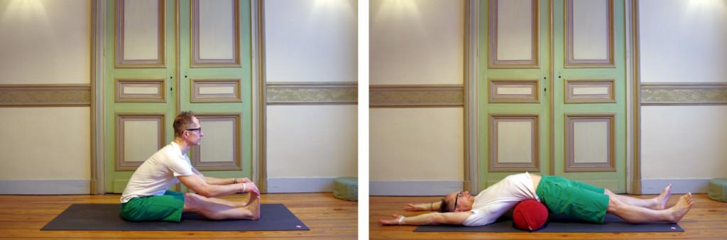 Twee foto's van Hatha Yogahoudingen