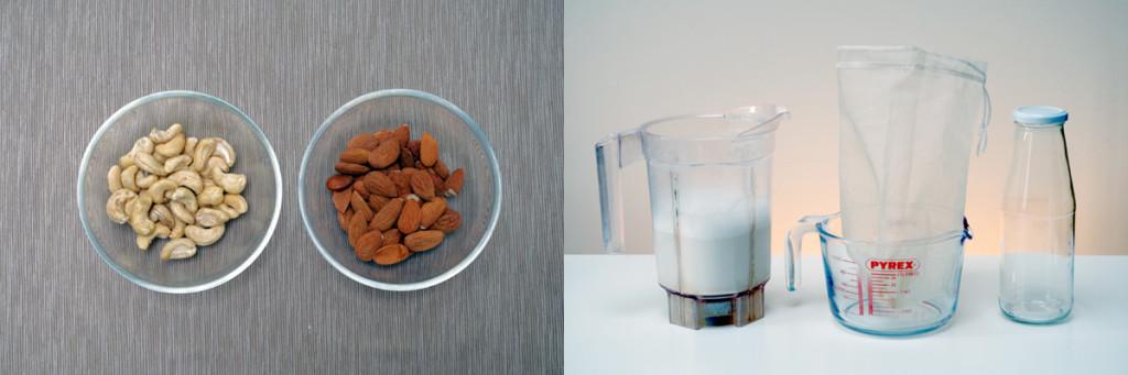 Foto van noten en materiaal om notenmelk te maken