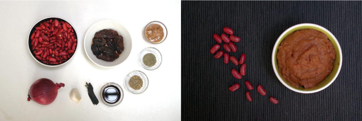 De ingrediënten voor de bonenpuree