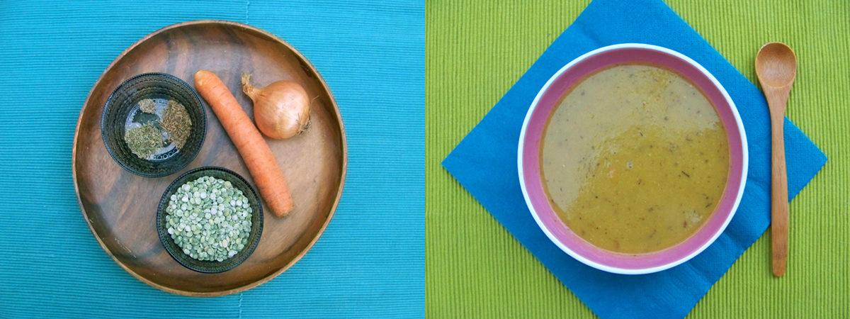 Foto van erwtensoep en ingrediënten